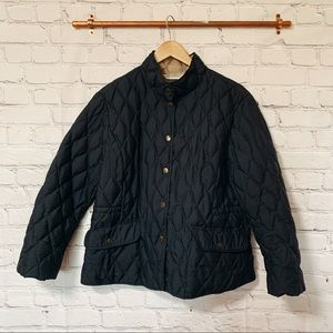 Eddie Bauer black quilted goose down jacket